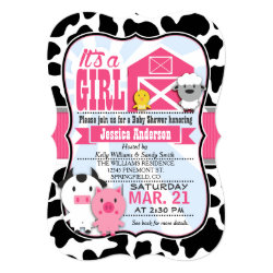 Pink and Black Farm Animal Cowgirl Baby Shower Card