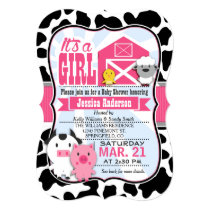 Pink and Black Farm Animal Cowgirl Baby Shower Invitation