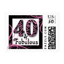 """Pink and Black Festive """"40"""" Postage"""