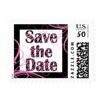 Pink and Black Festive Save the Date Postage
