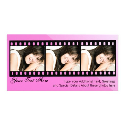 Pink and Black Filmstrip Photo Card