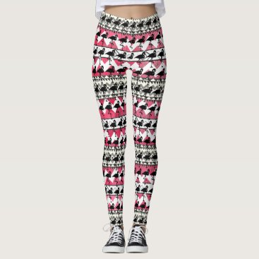 Aztec Themed Pink and Black Flamingo Aztec Pattern Leggings