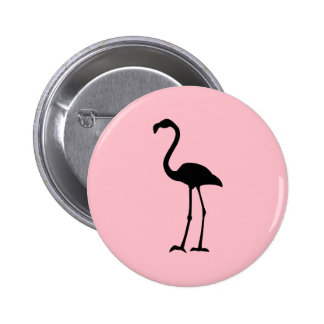 Pink and Black Flamingo Pinback Button