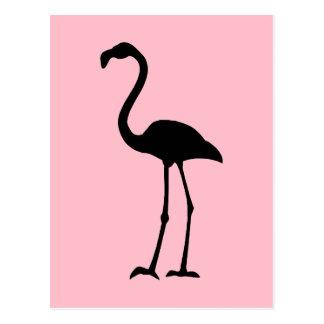 Pink and Black Flamingo Postcard
