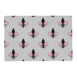Pink and Black Fleur-de-Lis Placemat