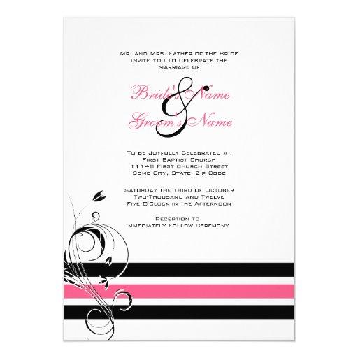 Pink and Black Floral Bars Wedding Invitation