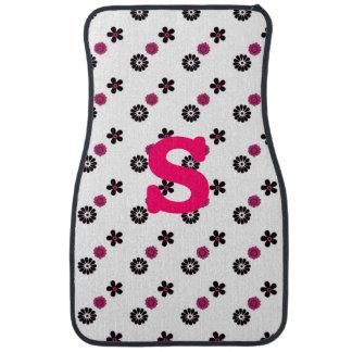Pink and Black Floral Car Floor Mats Floor Mat