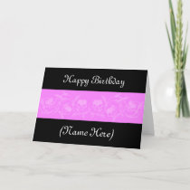 Pink And Black Floral Design Elegant Birthday Card