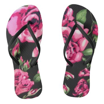 Beach Themed pink and black floral flip flops