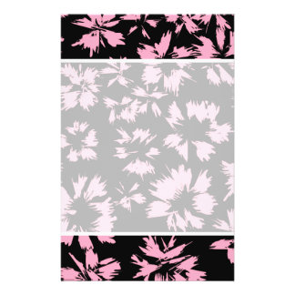 """Pink and Black Floral Pattern. 5.5"""" X 8.5"""" Flyer"""