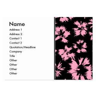 Pink and Black Floral Pattern. Large Business Cards (Pack Of 100)