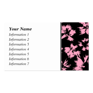 Pink and Black Floral Pattern. Double-Sided Standard Business Cards (Pack Of 100)