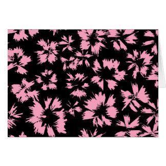 Pink and Black Floral Pattern. Stationery Note Card