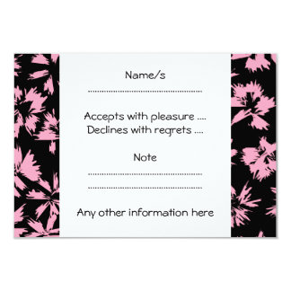 Pink and Black Floral Pattern. 3.5x5 Paper Invitation Card