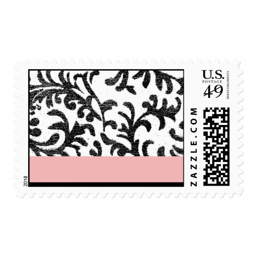 Pink and Black Floral Pattern Postage