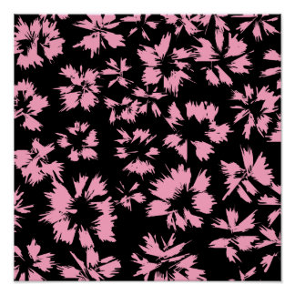 Pink and Black Floral Pattern. Poster