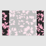 Pink and Black Floral Pattern. Rectangle Stickers
