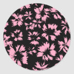 Pink and Black Floral Pattern. Stickers