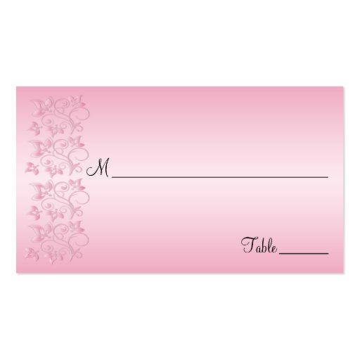 Pink and Black Floral Placecards Business Card