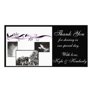 Pink and black floral Thank You Wedding photo card