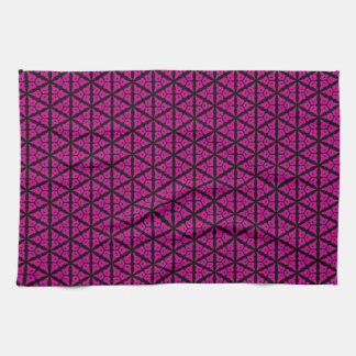 Pink and Black Floral Trellis Pattern Towels