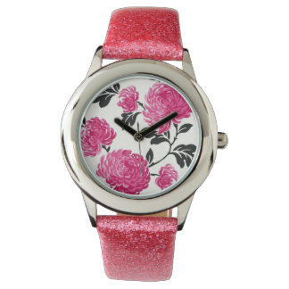 Pink and Black Floral Watches