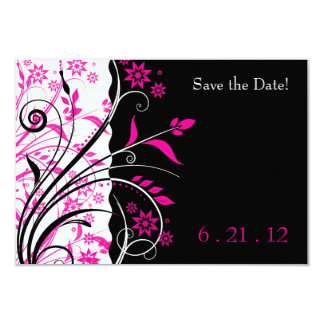 Pink and Black Floral Wedding Save the Date Cards