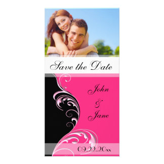 """Pink and Black Flourish /photo """"Save the Date"""" Photo Greeting Card"""