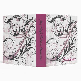 Pink and Black Flourishes Scrapbook Binder
