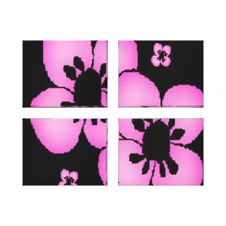 Pink and Black Flower Art Wrapped Canvas Art wrappedcanvas