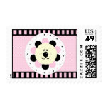 Pink and Black-Flower Baby Lion Postage Stamps
