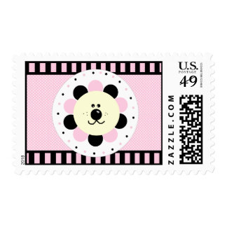 Pink and Black-Flower Baby Lion Stamp