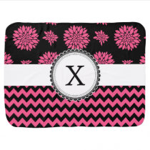 Pink and Black, Flowers and Chevron Baby Blanket