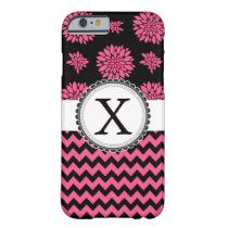 Pink and Black, Flowers and Chevron Barely There iPhone 6 Case