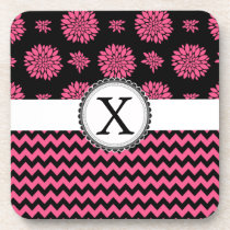 Pink and Black, Flowers and Chevron Beverage Coaster