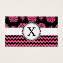 Pink and Black, Flowers and Chevron Business Card