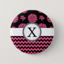 Pink and Black, Flowers and Chevron Button