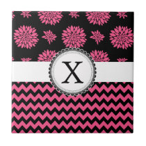 Pink and Black, Flowers and Chevron Ceramic Tile