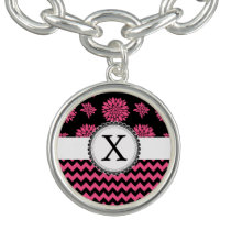 Pink and Black, Flowers and Chevron Charm Bracelet