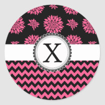 Pink and Black, Flowers and Chevron Classic Round Sticker