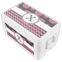 Pink and Black, Flowers and Chevron Cooler