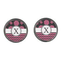 Pink and Black, Flowers and Chevron Cufflinks