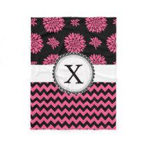 Pink and Black, Flowers and Chevron Fleece Blanket