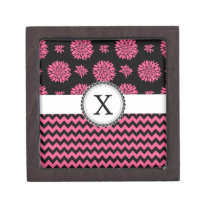 Pink and Black, Flowers and Chevron Gift Box