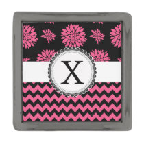 Pink and Black, Flowers and Chevron Gunmetal Finish Lapel Pin