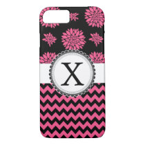 Pink and Black, Flowers and Chevron iPhone 7 Case