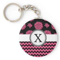 Pink and Black, Flowers and Chevron Keychain