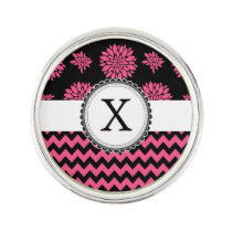 Pink and Black, Flowers and Chevron Lapel Pin