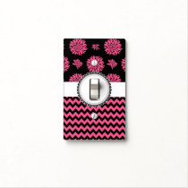 Pink and Black, Flowers and Chevron Light Switch Cover