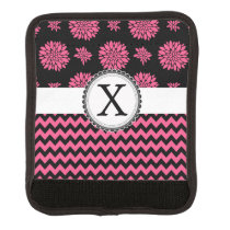 Pink and Black, Flowers and Chevron Luggage Handle Wrap